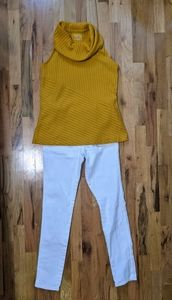 Spring outfit! Mustard top and white pants